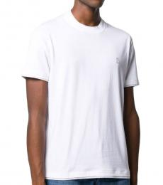Brunello Cucinelli White Cotton Double Trim T-Shirt