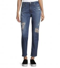 AG Adriano Goldschmied Blue Distressed High-Rise Jeans