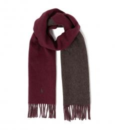 Ralph Lauren Cherry Two Sided Pony Scarf