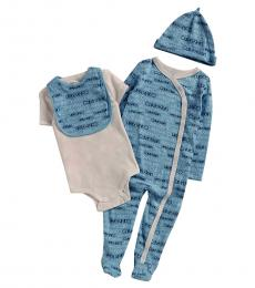 Calvin Klein 4 Piece Footie/Bodysuit/Bib/Hat Set (Baby Boys)