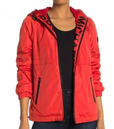 Michael Kors Bright Red Hooded Logo Plush Jacket