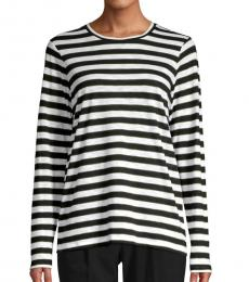 Michael Kors BlackWhite Striped Cotton-Blend Tee