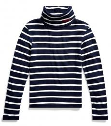 Ralph Lauren Little Girls Navy Cotton-Modal Turtleneck
