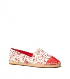 Tory Burch Red Printed Colorblock Espadrilles