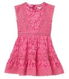 BCBGirls Little Girls Hot Pink Scalloped Hem Lace Dress