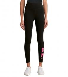 DKNY Black Med Pink Logo Leggings