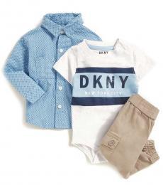 DKNY 3 Piece Shirt/Bodysuit/Joggers Set (Baby Boys)