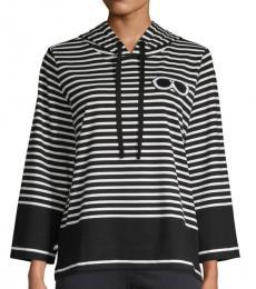 Black Striped Cotton Hoodie