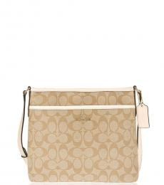 Coach Light Khaki Chalk File Medium Crossbody