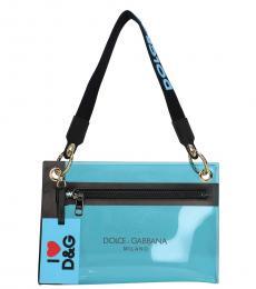 Dolce & Gabbana Blue Logo Strap Medium Shoulder Bag