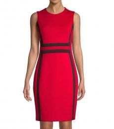 Red Black Colorblock Sheath Dress