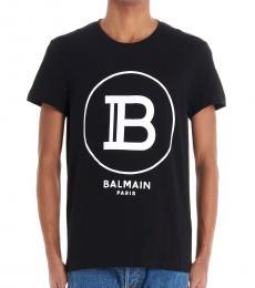 Balmain Black Flock Logo T-Shirt