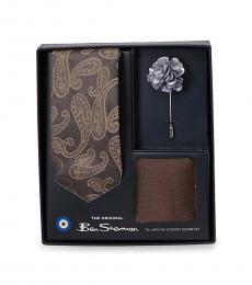Brown-Multi Paisley Tie, Lapel Pin, & Pocket Square Box Set
