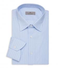 Canali Light Blue Modern-Fit Striped Shirt