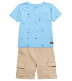 7 For All Mankind 2 Piece T-Shirt/Shorts Set (Little Boys)