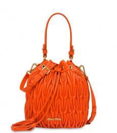 Orange Pleated Small  Bucket Bag