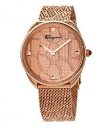Salvatore Ferragamo Rose Gold Snake Print Watch