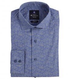 Ben Sherman Blue Stretch Collar Paisley Shirt