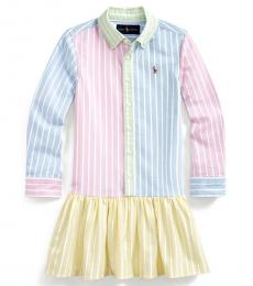 Ralph Lauren Little Girls Multicolor Oxford Fun Shirtdress