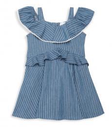 BCBGirls Girls Indigo Stripe Chambray Dress