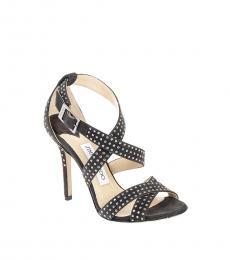 Black Studded Suede Lottie Heels