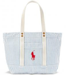 Ralph Lauren Blue/White Striped Large Tote