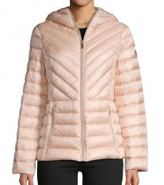 Michael Kors Powder Blush Missy Zip Packable Down Jacket