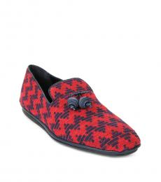 Salvatore Ferragamo Red Blue Fabio Tassel Loafers