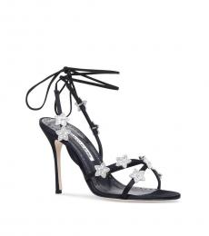 Black Strappy Jeweled Heels