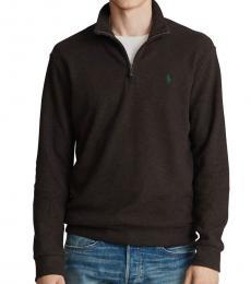 Ralph Lauren Circuit Brown Double-Knit Half-Zip Pullover