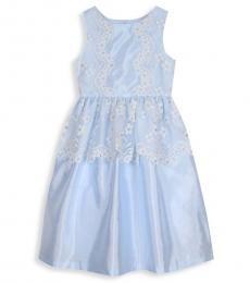 Badgley Mischka Girls Light Blue Floral Lace Peplum Dress