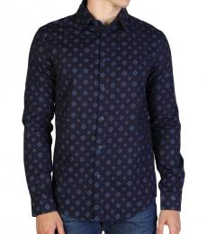 Armani Jeans Navy Blue Graphic Printed Shirt