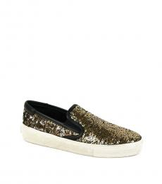 Gold Silver Sequined Loafers