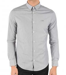 Armani Jeans Grey Striped Slim Fit Shirt