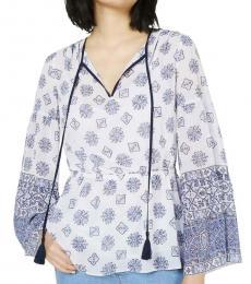 Michael Kors Grecian Blue Printed V-Neck Shirt Tunic Top