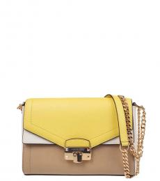 Michael Kors Yellow Multi Kinsley Medium Shoulder Bag
