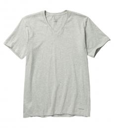 Calvin Klein Grey Pack of 4 V-Neck T-Shirt