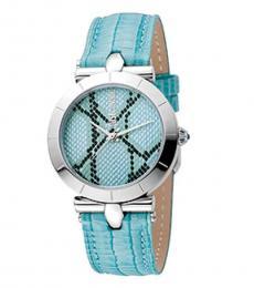 Just Cavalli Ice Blue Animal Print Dial Watch