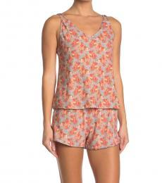 Lucky Brand Multi Color Floral Print Cami & Shorts Pajama 2-Piece Set