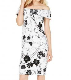 Calvin Klein White Black Floral Off-The Shoulder Daytime Sheath Dress