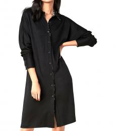 Diane Von Furstenberg Black Wool Blend Shirtdress