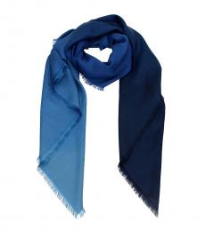 Fendi Blue Foulard Silk Scarf
