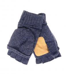 Ralph Lauren Blue Flip Cuff Wool Blend Gloves