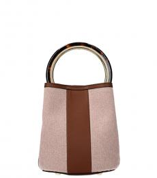 Marni Pink Pannier Stripe Small Bucket Bag