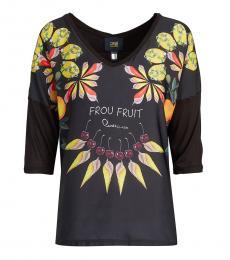 Cavalli Class Black Floral Print V-Neck Top