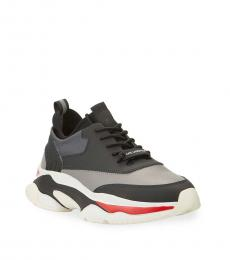 Grey Black Leather Sneakers