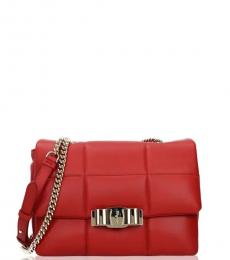 Salvatore Ferragamo Red Quilted Medium Shoulder Bag