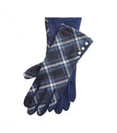 Ralph Lauren Navy Buttoned Wool-Blend Gloves