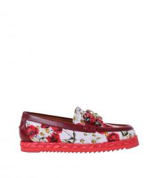 Multicolor Floral Crystals Loafers