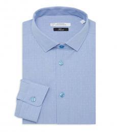 Versace Collection Blue Trend-Fit Dot-Print Dress Shirt